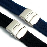 Silicone Deployment Mens Watch Strap Band  (Style 2 Criss-Cross) C035